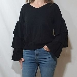 Dreamers black sweater with bell frills on sleeves